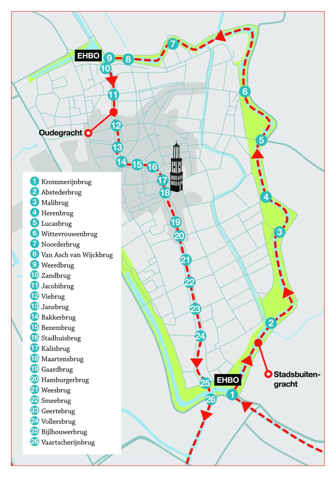Routekaart ronDom 2017 Gracht